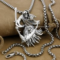 Wholesale 925 Sterling Silver Large Grim Reaper Scythe Death Mens Biker Pendant H012 Necklace inch