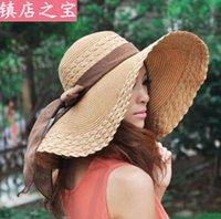 Wholesale 80pcs Fashion Summer Women s Ladies Foldable Wide Large Brim Floppy Beach Hat Sun Straw Hat Cap Women