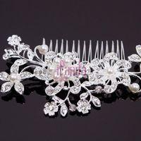 Cheap car Women Bridal Wedding Flower Crystal Rhinestones Pearls Hair Accessories Clip Comb Diamante Jewelry#53250
