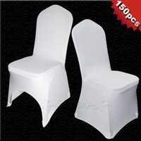 Wholesale 150 Universal White Polyester Spandex Wedding Chair Covers for Weddings Banquet Folding Hotel Decoration Decor Hot Sale