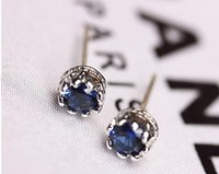 fashion rhinestone crown - 925 silver Blue Crown earrings natural crystal fashion small sterling silver jewelry for women Blue Special