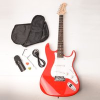 Wholesale Rosewood Fingerboard Electric Guitar with Shoulder Strap Guitar Bag Picks Cord Hex Wrench Red58367