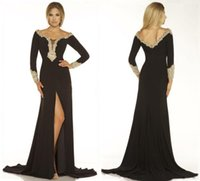 Wholesale Modern Evening Dresses Black Scoop Long Sleeve A Line Maxi Sweep Train with Gold Beads Crystal Front Slit Formal Party Dress New