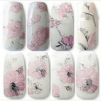 Wholesale 2014 New High Quality Pink Flowers Nail Stickers Nail Art Decal Elegant D Sticker for Women Nails