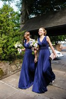 beautiful maids - 2015 Hot Sale Navy Blue Bridesmaids Dresses Chiffon Long Maid of Honor Dresses Plus Size Beautiful A Line V Neck Ruffles Zipper Back