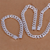 925 silver jewelry - S101 Fashion Jewelry Set Sterling silver plated MM side chain necklace bracelet for men Top quality