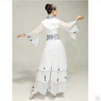 belly dancer dress - Classical dance stage costumes female dancers dress costume blue and white Chinese clothing musical performances Square Younger