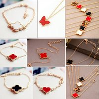 Wholesale Cute Sweet Heart - 300pcs Lovely Sweet Cute Love Heart Clover Alloy Enamel Bracelet Link Bangle Gift Clover Butterfly free shipping RL389