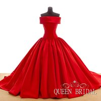 Cheap Classic Red 2015 Prom Dresses Real Sample Off Shoulder Cap Sleeve Lace-up Ball Gown Prom Dresses QUEEN BRIDAL Party Dresses For Women