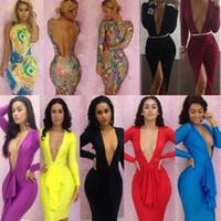 Wholesale Hot Sexy Women s Bandage Bodycon Dresses Lady Fashion V neck Party Cocktail Dresses Long Sleeve Fringe Print Club wear