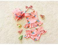 Wholesale 2016 new Korean children swimwear split skirt lovely sweet baby girls swimwear BH1751