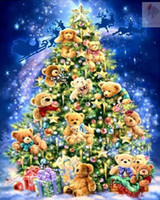 bear cross stitch - Bear Christmas tree diy diamond painting cross stitch full square drill canvas rhinestone diamond mosaic room decor wall sticker