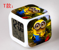Wholesale Hot Lovely Despicable Me Minion Alarm Clock With Changing Colors Cute Cartoon LED Clock Students Clock Digital Clock Styles Christmas