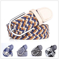 elastic stretch belt - New Fashion Leather Belt Casual Canvas Buckle Stretch Woven Elastic Waistband for Women Men