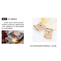 Wholesale Colored Austrian Crystal Square Ear Stud Korean Style Alloy Jewelry Ear Decoration
