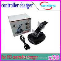 Wholesale 30pcs LED Dual USB Charging Dock Station Stand for PS3 PlayStation Game Controller Black Charger ZY PS3
