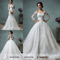 Wholesale 2015 Long Sheer Lace Sleeves Sheer Back Mermaid Wedding Dress Off Shoulder Applique Detachable Chiffon Maid of Bride Dress Covered Buttons
