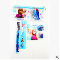 Wholesale 2014 Frozen stationery set for Students Office School Supplies Frozen Cases Bag book pencils Ruler eraser sharpener bag