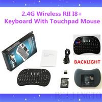 Wholesale 100PCS G Wireless Rii Mini i8 Backlight Keyboard Mouse Combo Multi touch Pad Android Smart TV Box Mini PC Xbox360 PS3 HTPC IPTV