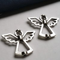 Wholesale 100pcs x30mm Jewelry Connection Accessories Metal Alloy Antique Silver Angel Charms Pendant Settings Findings