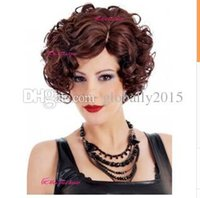 Wholesale Popular Women Short Curly Hair Wigs Burgundy Color Hair Wigs inch Full Wigs Hair Wigs Synthetic Hair New Arrival G0057