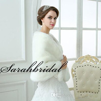 fur - 2015 New Arrival White Faux Fur Shrug Cape Stole Wrap Shawl For Wedding Bridal Evening Prom Special Occasion In Stock