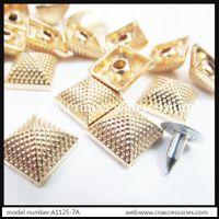 Wholesale free shipment mm golden pyramid square spike sets garment punk stud spike decoration
