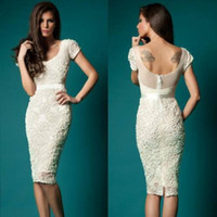 beaded cocktail dresses - 2016 Hot Sale Lace Sheath Knee Length Sexy Cocktail Dresses Cap Sleeve Sheer Illusion Back Sexy Party Prom Dress Homecoming Gowns Exquisite