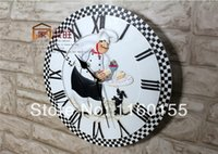 Wholesale European Style Creative Chef Wall Clock for Hotel Cafe Mute Watch