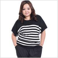 Cheap new arrival 2015 Plus size 3XL White Black Stripe t-shirt women brand blusa de renda Cotton Casual Big size vetement femme tops