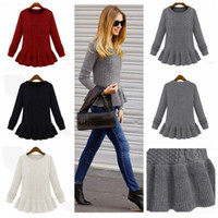 womens jumpers - Vintage Retro Womens O Neck Cable Knitted Twist Peplum Sweater Pullover Jumper S2098 rl