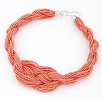 Wholesale Vintage Twist Short Temperament Of Bohemia Bead Necklace Sweater Chain Statement Necklace For Women Bohemia Choker Collar EH097