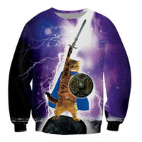 active kitten - Epic Cat Sweatshirt Cute Kittens D Print Pull Galaxy Space Sweats Women Men Casual Sport Jumper Long Sleeve Hoodies Outerwear