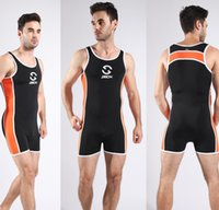 Wholesale Sexy Leotard Men - Fashion Swimsuits Elastic Slippy Men's Fashion Swimwear Leotard Sports Underwear Sexy Jump Suit Bodysuit 4 colors for choose JJ10