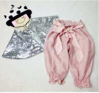 Wholesale DOLLY style Cute Sequin Princess Shawl New Fashion silver sequins Kids poncho bows puff half pants Spring Children Clothes