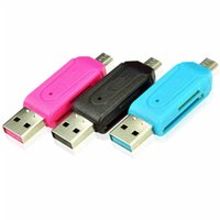 Wholesale 1pc Universal Card Reader retail OTG SD TF Card Reader USB Micro USB in For PC Mobile Phone