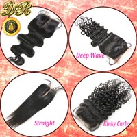 brazilian lace closure - 6A Unprocessed Remy Human Hair Lace Closure Brazilian Virgin Hair Body Wave Curly Straight x4 Top Closure Bleached Knots
