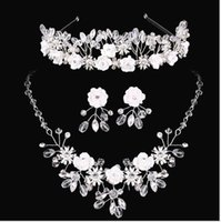 Wholesale Bridal crowns Rhinestone Tiara Necklace Earring Set Bridal Wedding Accessories Party Jewelry Wedding Accessories party dress HT031