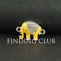 Wholesale Silver plated Yellow Enamel Elephant Charms Connector x17mm RS671