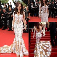 Reference Images Crew Tulle 2014 Zuhair Murad Najwa Karam Red Carpet Champagne Mermaid Appliques Evening Dresses V-neck Long Sleeve Backless Sexy Celebrity Dress Gowns