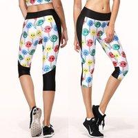 Wholesale Fashion Women s yoga pants Lollipop expression sports leggings fitness points Capris Pants