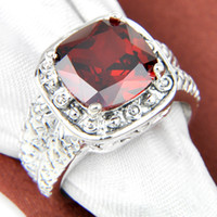 antique garnet ring - 2015 New Real Rings Holiday Jewelry Gift Party Newest Square Garnet Gems Sterling Silver Antique Ring Usa Size