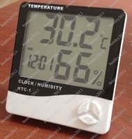 Wholesale Digital LCD Temperature And Humidity Meter Thermometer Hygrometer Clock Alarm