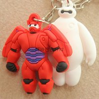 rubber keychain - Keychain BIG HERO BAYMAX red and white Soft Rubber Robot dolls keychain toys chlidren birthday gift kid prize