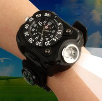backpacking flashlight - Multifunctional Electronic Stopwatch Strap Lamp Compass Outdoor Sports Fishing W Riding Flashlight New Wrist Watch Rechargeable Torch With