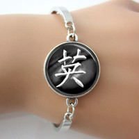 antique calligraphy - Japanese Courage Symbol Calligraphy Photo Glass Dome Bracelets Bangle Plated Antique Silver Rhodium New Design Bangles pc