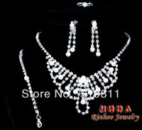 Wholesale 2014 hot selling Wedding rhinestone jewelry sets Fashion full rhinestone siliver plated jewelry set
