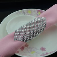 Wholesale Silver Row Napkin Rings Serviette Holder Wedding Decoration Party Favor Adornment KM104