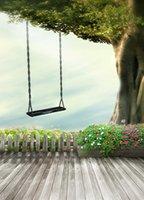 babies garden swing - 200cm cm ft ft Wooden Floor Flower garden wood tree swing baby photography backdrop background
