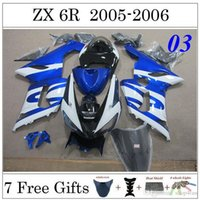 Wholesale ZX6R Fairing Kit Kawasaki Fit Year ZX R Ninja Blue White Black Painting Motorbike Bodywork Fashion Style Cowling